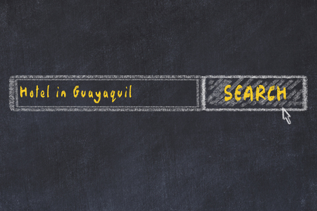 Chalk sketch of search engine. Concept of searching and booking a hotel in Guayaquil.