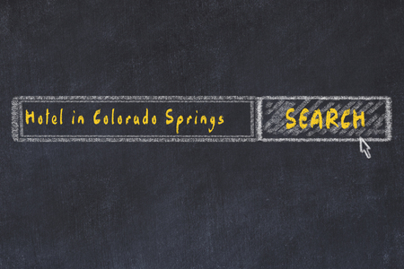 Chalk sketch of search engine. Concept of searching and booking a hotel in Colorado Springs.