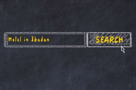 Chalk sketch of search engine. Concept of searching and booking a hotel in Ibadan. Imagens - 121022826