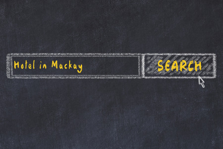 Chalk sketch of search engine. Concept of searching and booking a hotel in Mackay.