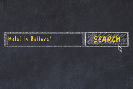 Chalk sketch of search engine. Concept of searching and booking a hotel in Ballarat. Imagens