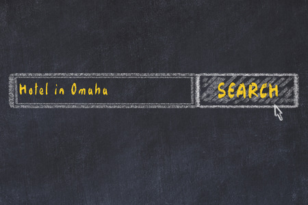 Chalk sketch of search engine. Concept of searching and booking a hotel in Omaha.