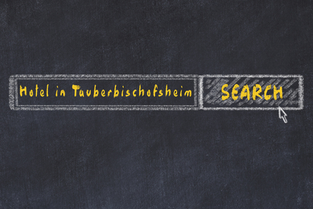 Chalk sketch of search engine. Concept of searching and booking a hotel in Tauberbischofsheim.
