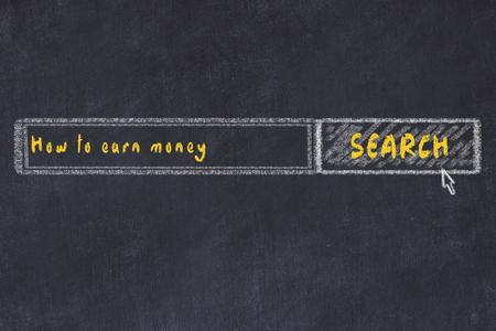 Chalk board sketch of internet search engine. Looking for how to earn money. Reklamní fotografie