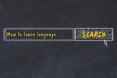 Chalk board sketch of internet search engine. Looking for how to learn language.
