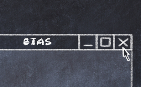 Chalk drawing of window on computer screen. Concept of stopping bias.