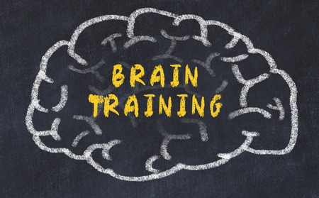 Chalk drawing of human brain with inscription brain training.