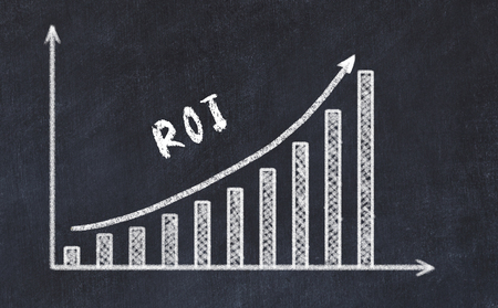 Chalkboard drawing of increasing business graph with up arrow and inscription roi. Stock Photo