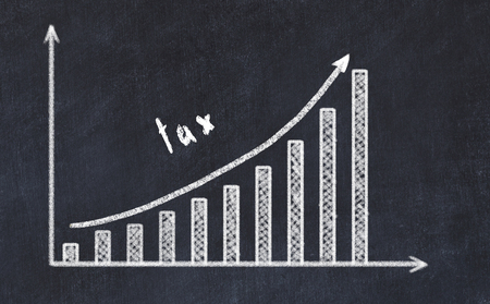 Chalkboard drawing of increasing business graph with up arrow and inscription tax. Stock Photo - 122997323