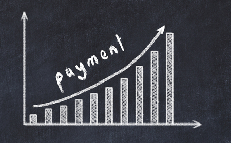 Chalkboard drawing of increasing business graph with up arrow and inscription payment.