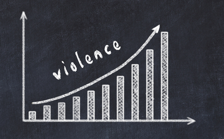 Chalkboard drawing of increasing business graph with up arrow and inscription violence. Stock Photo