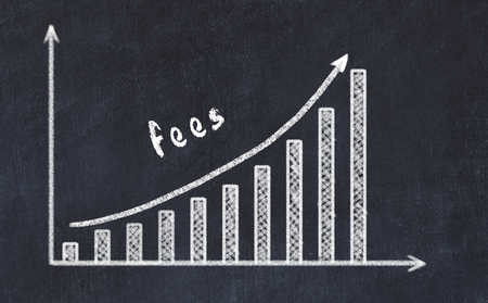 Chalkboard drawing of increasing business graph with up arrow and inscription fees. 스톡 콘텐츠
