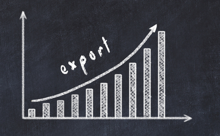 Chalkboard drawing of increasing business graph with up arrow and inscription export. Stock Photo