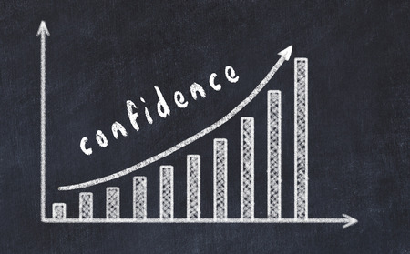 Chalkboard drawing of increasing business graph with up arrow and inscription confidence. Stock Photo - 122997604