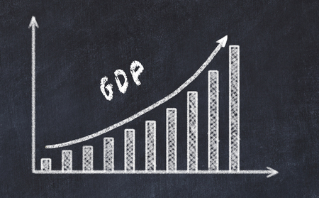 Chalkboard drawing of increasing business graph with up arrow and inscription gdp.