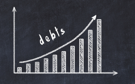 Chalkboard drawing of increasing business graph with up arrow and inscription debts.