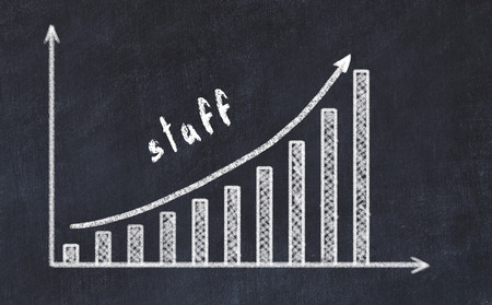 Chalkboard drawing of increasing business graph with up arrow and inscription staff.
