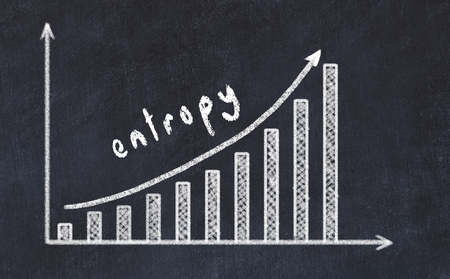 Chalkboard drawing of increasing business graph with up arrow and inscription entropy. Stock Photo