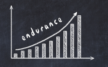 Chalkboard drawing of increasing business graph with up arrow and inscription endurance. Stock Photo