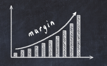 Chalkboard drawing of increasing business graph with up arrow and inscription margin.