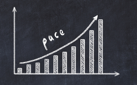 Chalkboard drawing of increasing business graph with up arrow and inscription pace. Stock Photo