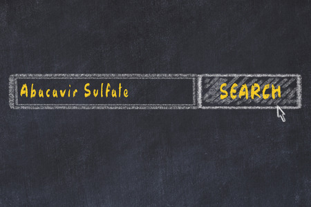 Medical concept. Chalk drawing of a search engine window looking for drug abacavir sulfate.