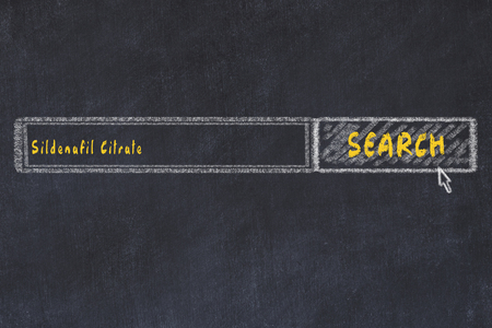 Medical concept. Chalk drawing of a search engine window looking for drug sildenafil citrate.