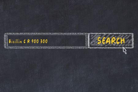Medical concept. Chalk drawing of a search engine window looking for drug bicillin c r 900 300.