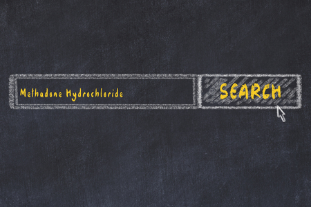 Medical concept. Chalk drawing of a search engine window looking for drug methadone hydrochloride.