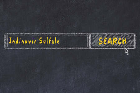 Medical concept. Chalk drawing of a search engine window looking for drug indinavir sulfate.