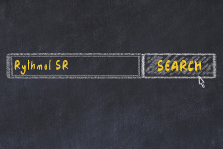 Medical concept. Chalk drawing of a search engine window looking for drug rythmol sr. Stock fotó