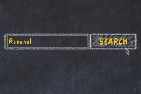 Medical concept. Chalk drawing of a search engine window looking for drug roxanol. Stok Fotoğraf