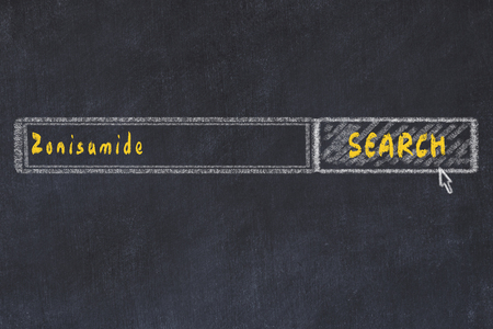 Medical concept. Chalk drawing of a search engine window looking for drug zonisamide. Banco de Imagens