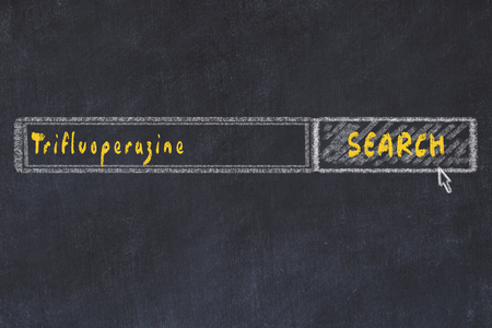 Medical concept. Chalk drawing of a search engine window looking for drug trifluoperazine.