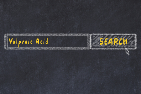 Medical concept. Chalk drawing of a search engine window looking for drug valproic acid.