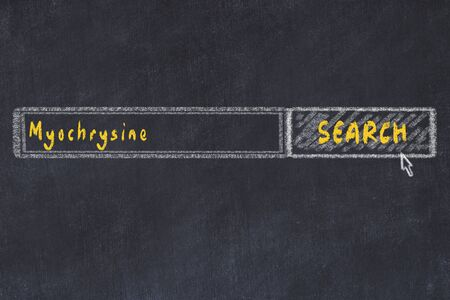 Medical concept. Chalk drawing of a search engine window looking for drug myochrysine.