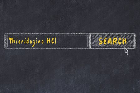 Medical concept. Chalk drawing of a search engine window looking for drug thioridazine hcl.