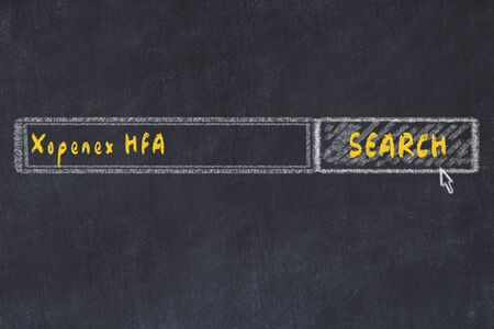 Medical concept. Chalk drawing of a search engine window looking for drug xopenex hfa.