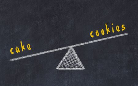 Chalk board sketch of scales. Concept of balance between cookies and cake Stock fotó