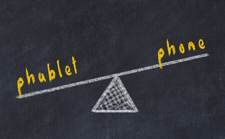 Chalk board sketch of scales. Concept of balance between phone and phablet Stock Photo
