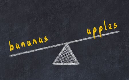 Chalk board sketch of scales. Concept of balance between apples and bananas
