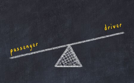 Chalk board sketch of scales. Concept of balance between passenger and driver.