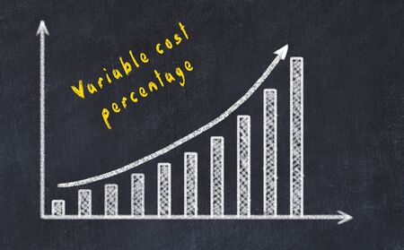 Black chalk board with drawing of increasing business graph with up arrow and inscription . Stock Photo