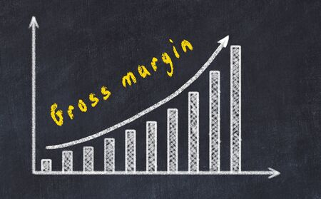 Black chalk board with drawing of increasing business graph with up arrow and inscription .