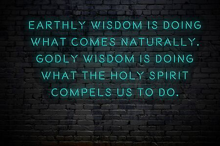 Neon inscription of positive wise motivational quote against brick wall . Reklamní fotografie