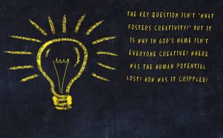 Chalk drawing of bulb and inscription about art and creativity.
