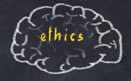 Drawind of human brain on chalkboard with inscription ethics. Stock Photo