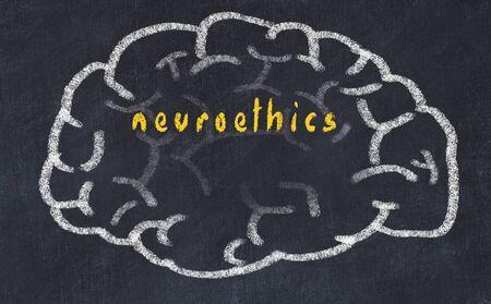 Drawing of human brain on chalkboard with inscription neuroethics.