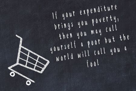 Chalk drawing of shopping cart and short quote about shopping on black board. Reklamní fotografie