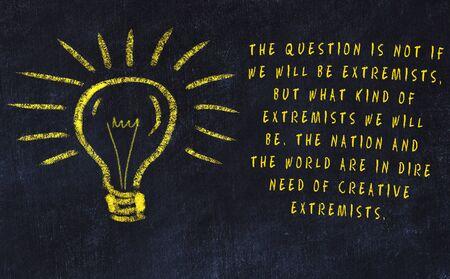 Concept of generating ideas. Chalk drawing of light bulb Banco de Imagens